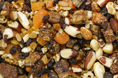 Assortment of dried fruits, nuts, almonds and  chestnuts Stock Photo