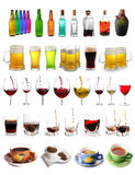 Assortment of drinks. Assortment of different drinks isolated on white background Stock Photos