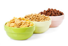 Assortment dry cereal, flakes  for breakfast Royalty Free Stock Photos