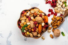 Assortment of dry fruits and nuts stock photo
