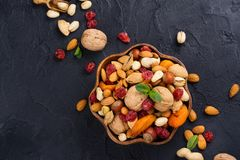 Assortment of dry fruits and nuts. Judaic holiday Tu Bishvat. Copy space royalty free stock photography