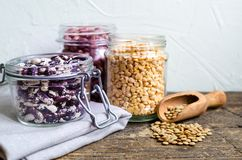 Assortment of dry organic beans and lentils Royalty Free Stock Image