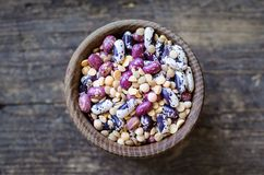 Assortment of dry organic beans and lentils Royalty Free Stock Photo