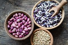 Purple grains-beens in a bowl Royalty Free Stock Photography