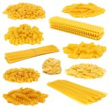 Assortment of dry pasta isolated on white Stock Images