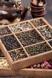 Assortment of dry tea Stock Photography
