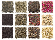 Assortment of dry tea. On white background Stock Photo