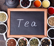 Assortment of dry tea Stock Photos