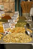 Assortment of dry vegetables and Spices mixes in the market. Jerusalem,Israel Stock Photography