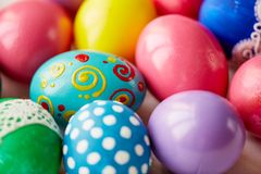 Assortment of Easter eggs. Various Easter eggs with creative colorful painting Stock Photo