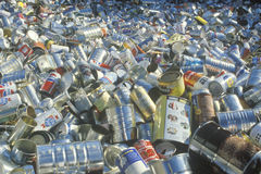 An assortment of empty aluminum cans Royalty Free Stock Images