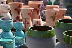 Assortment of empty flowerpots. Stock Images