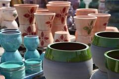 Assortment of empty flowerpots. Stock Images