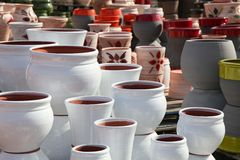 Assortment of empty flowerpots. Royalty Free Stock Image