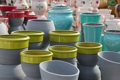 Assortment of empty flowerpots. Stock Photo