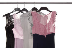 Assortment of evening dresses Stock Images