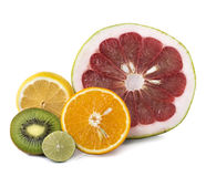 Assortment of exotic fresh fruits sliced Stock Photography