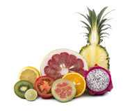Assortment of exotic fresh fruits sliced Stock Images