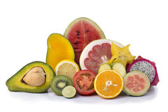 Assortment of exotic fresh fruits sliced Royalty Free Stock Photo
