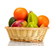 Assortment of exotic fruits in basket Royalty Free Stock Photography