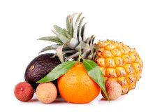 Assortment of exotic fruits isolated on white Stock Images