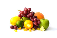 Assortment of exotic fruits isolated on white.  Royalty Free Stock Photo