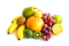 Assortment of exotic fruits isolated on white.  Royalty Free Stock Images