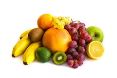 Assortment of exotic fruits isolated on white.  Stock Images