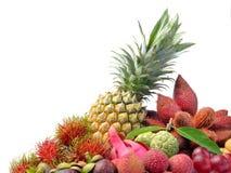Assortment of exotic fruits isolated on white background Stock Images