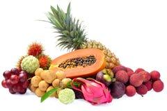 Assortment of exotic fruits isolated on white background Royalty Free Stock Image