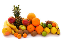 Assortment of exotic fruits isolated on white Royalty Free Stock Image
