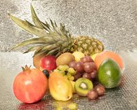 Assortment of exotic fruits isolated on white. Healthy fruit background ; Studio photo of different fruits on white bright background , high resolution product Stock Images