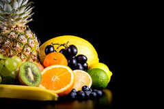 Assortment of exotic fruits Stock Photos