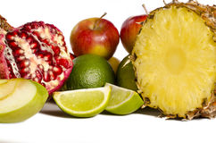 Assortment of exotic fruits  on white Stock Photography