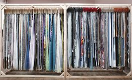 Assortment of fabric samples for curtains. In shop Royalty Free Stock Photography