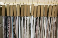 Assortment of fabric samples for curtains. Closeup Royalty Free Stock Image