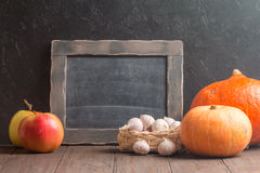 Assortment of farm autumn fruits and vegetables Royalty Free Stock Photo