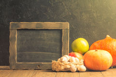 Assortment of farm autumn fruits and vegetables Stock Image
