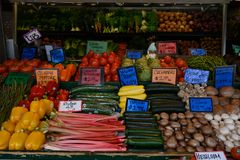 Fresh Vegetables at local farmers market. Assortment of farm fresh vegetables at open air farmers market stand royalty free stock photos