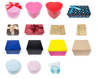 Assortment of Fifteen Different Gift Boxes Royalty Free Stock Photography