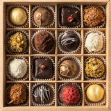 Assortment of fine chocolate candies, white, dark and milk chocolate in box. Sweets background, top view stock image