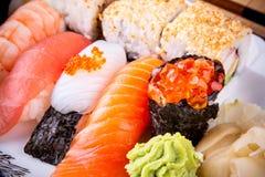 Assortment fish sushi with salmon ikura Stock Photos