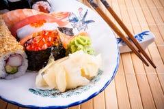 Assortment fish sushi with salmon ikura Royalty Free Stock Image