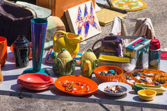 Assortment of flea market in USA in spring Royalty Free Stock Photo