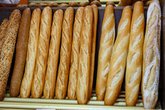 Assortment of french bread from a bakery Stock Images