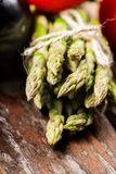 Assortment of fresh asparagus close up Royalty Free Stock Images