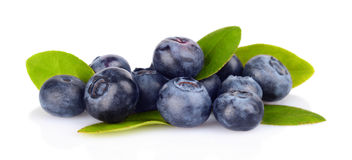 Assortment of fresh blueberries leaves isolated white