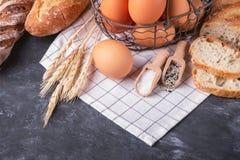 Assortment of fresh bread. Healthy homemade bread. stock photo