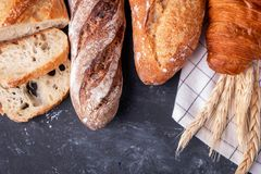 Assortment of fresh bread. Healthy homemade bread. stock photos