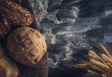 Assortment of fresh bread on the table Royalty Free Stock Photo